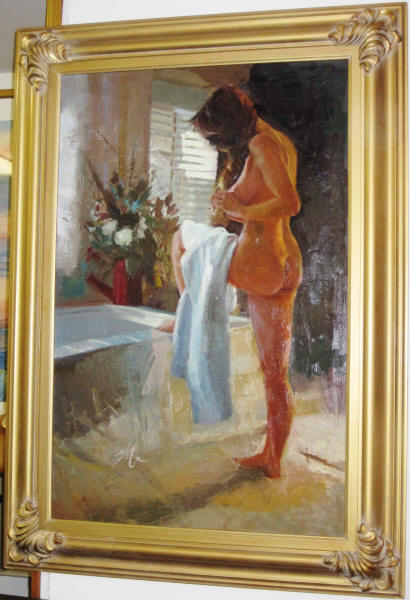 christina m cooper quiet solitude original signed oil on canvas ca 1995 excellent condition canvas measures 36 x 24 frame is 44 x 32